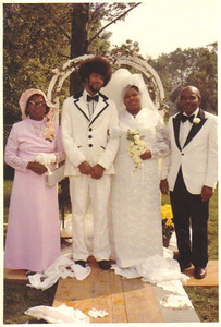 For her wedding to Jim Terry around 1972, Maggie Edwards made gowns and tuxedos for herself, her mother, Carrie, left, and her father, Ezekiel, right.