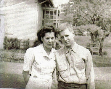 Marie Stang and her brother, Harold Telzerow, before Harold went overseas to serve as a tailgunner with the 8th Air Force in Europe. He was killed in combat in 1944.