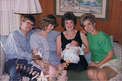 Newborn Micah Black with his parents, Michael and Diane, and grandmothers, Sandra Shumate and Nancy Johnson in 1994.