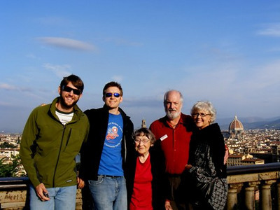 Millie Arthrell, center, visited Florence, Italy, with (from left) her grandsons, Michael and Justin, son, Dan, and Dan's wife, Claudia. (Photo courtesy of the Arthrell family.)