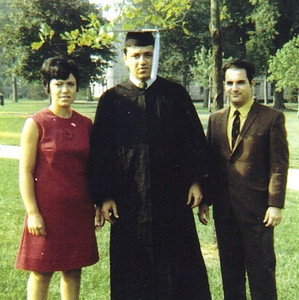 Pat Ziroli, center, graduated from Bowling Green State University in 1969. His sister, Bice, and her husband, Sam, celebrated the event with him. (Photo courtesy of the family.)