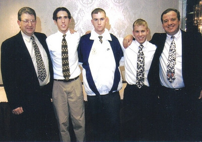 Pictured at 1996 Admiral King Awards Banquet, from the left, are assistant soccer coach, Les Gerken, players, John Muzik, Mike McDonald and Brandon Clay, and coach Pat Ziroli. (Photo courtesy of the family.)