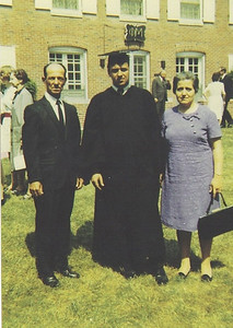 Pat Ziroli is flanked by his father, Adelfo, and mother, Filomena, at his graduation from Bowling Green State University in 1969. (Photo courtesy of the family.)