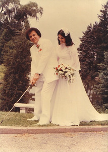 Pat Ziroli shows his bride, the former Elizabeth Doraski, his golf stance on their wedding day, July 4, 1981. (Photo courtesy of the family.)