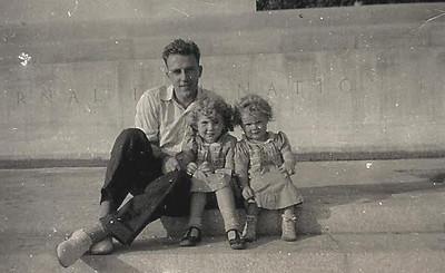 Herbert Karl Mason and daughters, Pat and Judy, at the Eternal Light Peace Memorial at Gettysburg, Pa., in 1939.