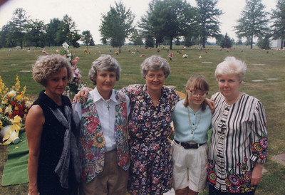 The Mason sisters in 1996: Mary Lee Pankoff, Janice Stanko, Judy Bell, Valerie Mason and Pat Beattie.