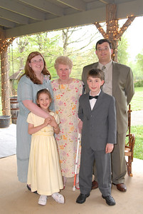 Pat Beattie, center, with the Weeks family: Left, Pat's daughter Kirsten, and granddaughter, Phyllis; Right, Pat's son-in-law, Glenn, and grandson, Isaac.