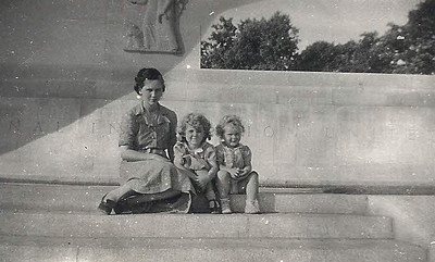Phyllis Mason and daughters, Pat and Judy, at the Eternal Light Peace Memorial at Gettysburg, Pa., in 1939.