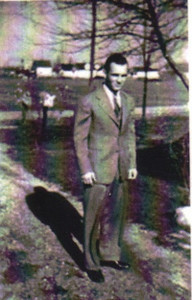 Paul Dziak, shown in 1942 in his parents' driveway on Dewitt Street in Sheffield Township, left Clearview High School before graduating in order to serve in the military during World War II.