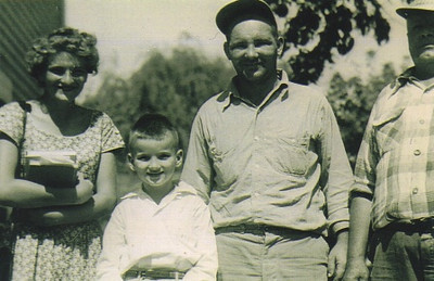 """A few Dziaks in the 1950s: From the left, Agnes """"Skeeter,"""" one of Paul Dziak's sisters; Ron Dziak, Paul's firstborn son; Paul himself; and Paul's dad, Charles."""
