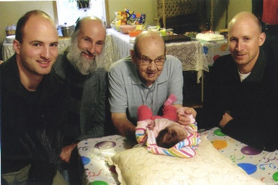 Four generations of Dziaks, pictured on Sept. 26, 2010: From left, Paul's grandson Caleb, his son Jeff, Paul himself, his great-granddaughter, Sylvia, and his grandson Zeb.
