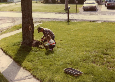 Paul Goode and daughter Megan plant flowers for Mother's Day. (Photo courtesy of the family.)