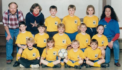 Paul Goode, back row left, served as a coach for this North Ridgeville soccer team in 1995. His son Gordon stands in the middle of the back row. (Photo courtesy of the family.)