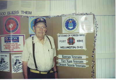 Ray Church answered questions about the VFW at the Veterans Booth at the Lorain County Fairgrounds.