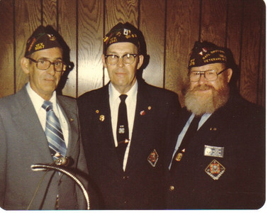 Ray Church of VFW Post 6941 of Wellington, center, flanked by Frank Majors of the VFW Post 6067 of Green Springs, Ohio, and Norm Eckhart, commander of VFW Post 1079 of Elyria in the 1980s.