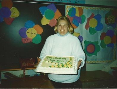 Sharon Borer gets a birthday cake. (Photo courtesy of the family.)