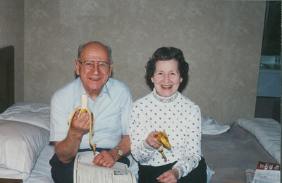 Ernie and Sophia Bedocs eat bananas for breakfast in their hotel room during a trip to Reading, Pa., to visit outlet stores in 1993. (Photo courtesy of the family.)