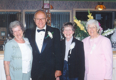 Sophia Bedocs, second from the right, with her sisters, Philomena Mittler, far left, and Rosalee Anderson, far right, with their cousin John Boron at a amily wedding. (Photo courtesy of the family.)