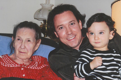 Sophia Bedocs with her firstborn grandchild, Paul Bedocs, and firstborn great-grandchild, Sam Bedocs, in Oct. 2011. (Photo courtesy of the family.)