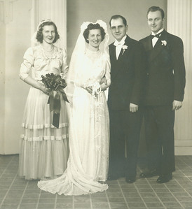 Sophia Boron married Ernie Bedocs on Feb. 15, 1947, at St. Agnes Church in Elyria. Here they are pictured with Sophia's sister and maid of honor, Rosalee, and Ernie's cousin and best man, Frank Dodzi. (Photo courtesy of the family.)