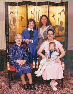 Four generations of Boron women: Standing are Sophia Bedocs and her daughter Nita; Seated are Sophia's mother, Katherine Boron, Sophia's daughter, Nancy Feldenkris, and Nancy's daughter, Sara. (Photo courtesy of the family.)