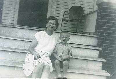 Sue Kerchmar with her son, John III, apparently on the front steps of her parents' home in the 1940s.