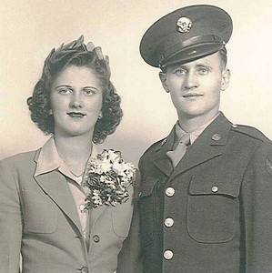 Sue Sklenar married John Kerchmar Jr. in Colorado Springs, Colo., during World War II.