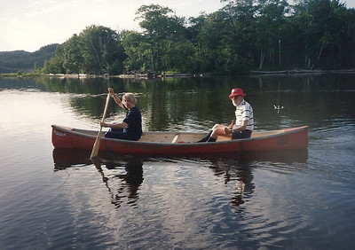 Jean and Tom Bowen canoe at Whispering Pines, Batchewana Bay, north shore of Lake Superior, Canada, in 1993. (Photo courtesy of the family.)