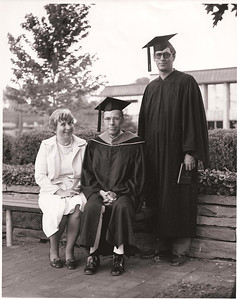 Jean, Tom D. and son, Tom C., in the courtyard at Lorain County Community College, when Tom C. received a degree and Tom D. served as LCCC treasurer. (Photo courtesy of the family.)