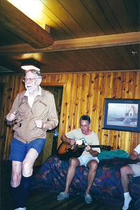 """Tom Bowen, 2001, """"cutting a rug"""" with grandson-in-law, Steve Penfound, providing the music. (Photo courtesy of the family.)"""