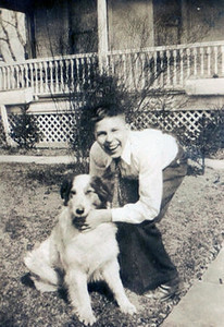 Bernie Schlather and his dog, around 1930.