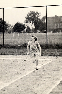 Virginia Bilskey, playing tennis in the early 1940s.