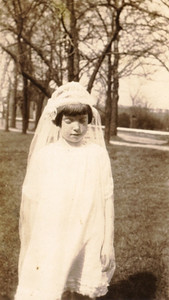 Virginia Bilskey on the day of her First Holy Communion.