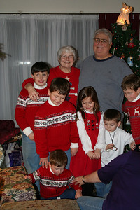 Peggy and Tom Kuns with some of their grandchildren at Christmas.