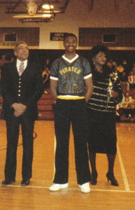 """From the left, Tommie Jackson, son Desmond, and wife, Alice, during a """"Parents Night"""" basketball game in 1988."""