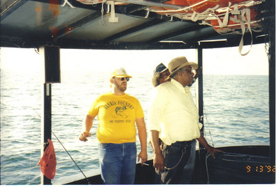 Tommie Jackson, right, with co-workers from Elyria Foundry on a fishing excursion on Lake Erie in 1992.