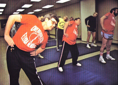 Chronicle File Photo. Turk Vargo participates with other former heart patients in an exercise class at the Elyria Family YMCA as part of a heart rehabilitation program in 1980. He sold T-shirts, like the one he's wearing, to provide scholarships to patients who couldn't otherwise afford the program.