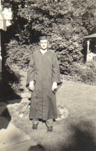 Turk Vargo on Graduation Day, 1948, at his parents' home in Western Heights.
