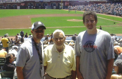 Turk Vargo, center, attended a San Francisco Giants baseball game at AT&T Park in San Francisco with his grandsons, Bobby Baksa, left, who works for the baseball club, and Jay Baksa, right.