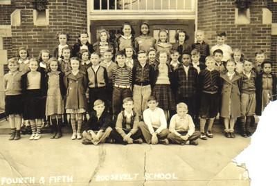 The combined 4th and 5th grade classes at Roosevelt School in Elyria around 1939. Turk Vargo is standing at the extreme right in the third row.