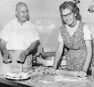 This photo of Tom Mihalis, for whom Elyria VFW Post 1079 is named, boxing raisin-filled cookies while his wife, Velva, rolls out cookie dough ran in the Chronicle-Telegram in 1968 with an article about the couple taking treats to hospitalized veterans.