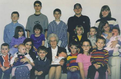 Velva Mihalis posed for this photo with 19 of her great-grandchildren on her 85th birthday.