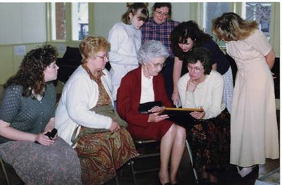 Velva Mihalis, front and center, is surrounded by younger women in her family in 1997 during a wedding shower for her great-niece Mary Purdy. From the left, seated, are Joy Purdy (great-niece), Helen Resar (daughter), Velva, LouAnn Purdy (niece). Standing, from left, are Ann Poulton (great-granddaughter), Kathy Poulton (granddaughter), Mary Purdy (great-niece) and Rebecca Purdy (great-niece).