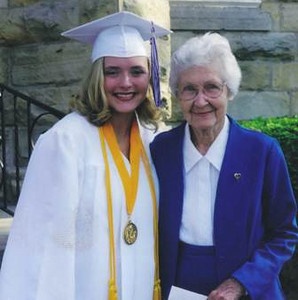 Ann Poulton, left, with her great-grandmother Velva Mihalis.