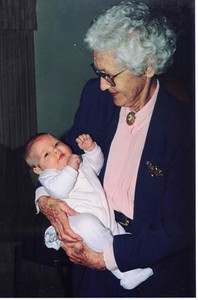 Velva Mihalis holds her great-granddaughter, Brittany Resar, in 1998.