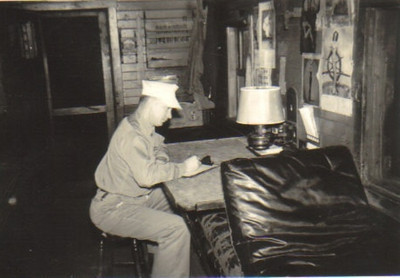 As the conductor on a freight train, Warren Powelson, pictured inside the caboose, kept a log of the journey.