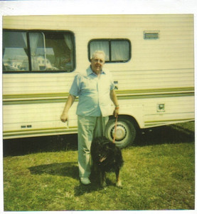 Larry Carroll took his dog Roxy on road trips to Canada and Alaska. This picture was taken at the Arm of Gold Campground in Camp Breton, Nova Scotia, in 1991.