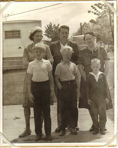 Larry Carrol is flanked by his wife, Mary Anne, and mother, Edna, with his sons (left to right),  Michael, Patrick and Tim, standing in front in this snapshot which was taken around 1964 near Edna's new home at  Columbia Trailer Park in Olmsted Falls.