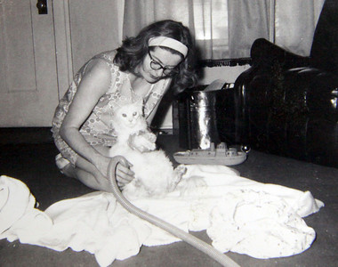 Marilyn Exline blow dries her cat after its shampoo.