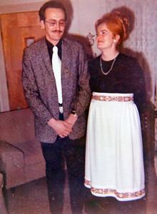 Jim Exline and Marilyn Hufford at a Christmas party in 1973 on the night that she received her engagement ring. The couple married three months later.